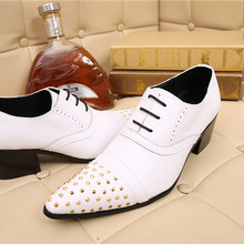New Arrival Black Patchwork Sapato Masculino Pointed Toe Rhinestone Men Dress Shoes Chunky Heels Zapatos Hombre Plus Size 38-46