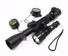 Big sale Hunting Optics Set  Compact Combo 3-9X40EG Rifle Scope Telescopic Sights + T6 LED Hunting Flashlight 5Mode C8 Torch Flash Light