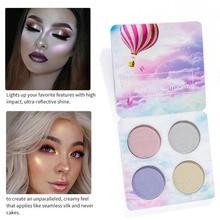 4 цвета Хайлайтер для макияжа лица Палетка для контурирования лица Модные хайлайтеры косметические аллохроевые оттенки порошок палитры