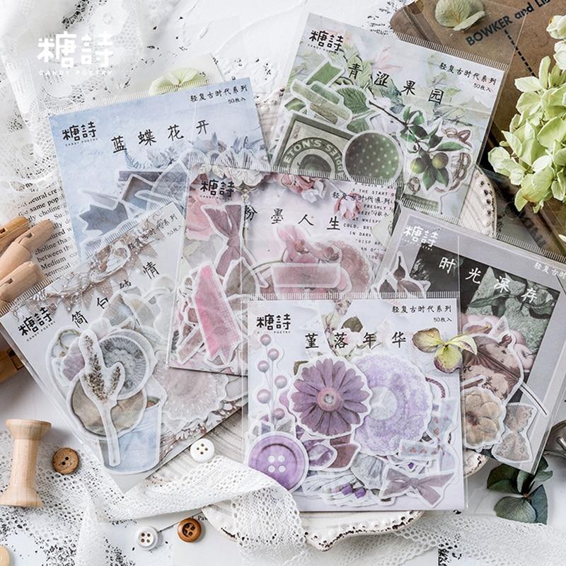 50 Pcs/bag Vintage Butterfly Flower Mini Paper Sticker Decoration Stickers DIY Diary Scrapbooking Planner Label Sticker