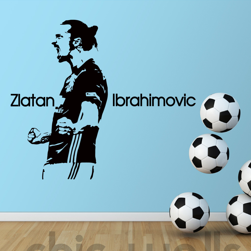 design zlatan ibrahimovic figure wall sticker vinyl diy home decor