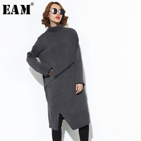 [EAM] 2019 New Spring Winter High Collar Long Sleeve Vent Gray Knitting Irregular Split Joint Dress Women Fashion Tide JK305