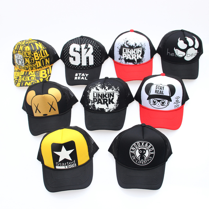 Summer Women's Trucker Hats Men's Adjustable Mesh Breathable Hip Hop Snapback Hats Letter Cartoon Baseball Caps