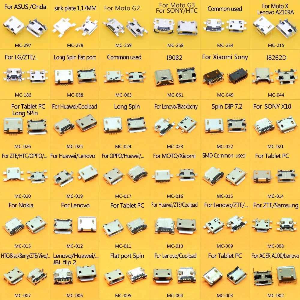 36models 360pcs/lot Micro USB 5 Pin Jack Micro USB Socket Micro USB 5P Jack Connector Port For Samsung Lenovo Huawei ZTE HTC Ect