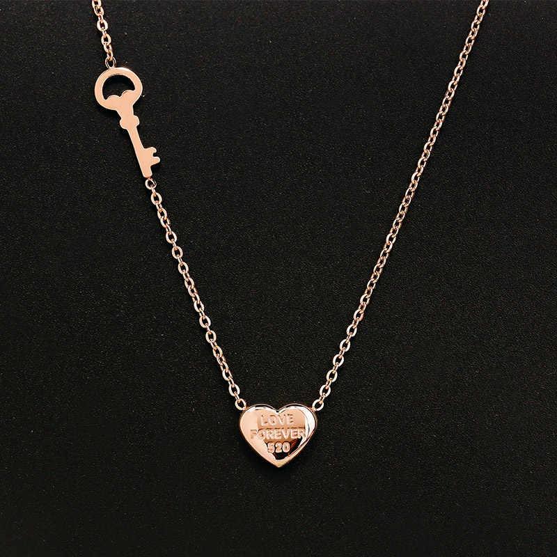 YUN RUO Thời Trang Người Phụ Nữ Thương Hiệu Đồ Trang Sức Rose Vàng Bạc Màu Tim Pendant Necklace Chain 316 L Thép Không Gỉ Collares Đồ Trang Sức