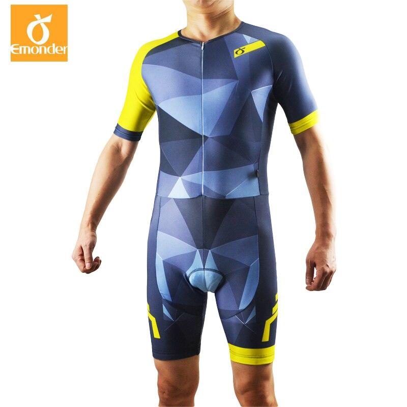 EMONDER Cycling Triathlon Skinsuit Jumpsuit Men Ropa Ciclismo Pro Cycling Clothing Jerseys Suit Bike Sport aubig cool unisex ladies men summer breathable elasctisch cycling clothing full zip jerseys radshorts suit