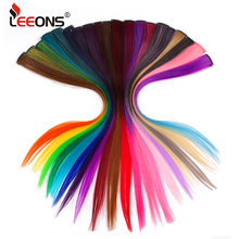 Leeons Clip In Synthetic Hair Extensions Heat Resistant Long Straight Hairpieces One Clips For Women Extension Fake Blue Hair(China)