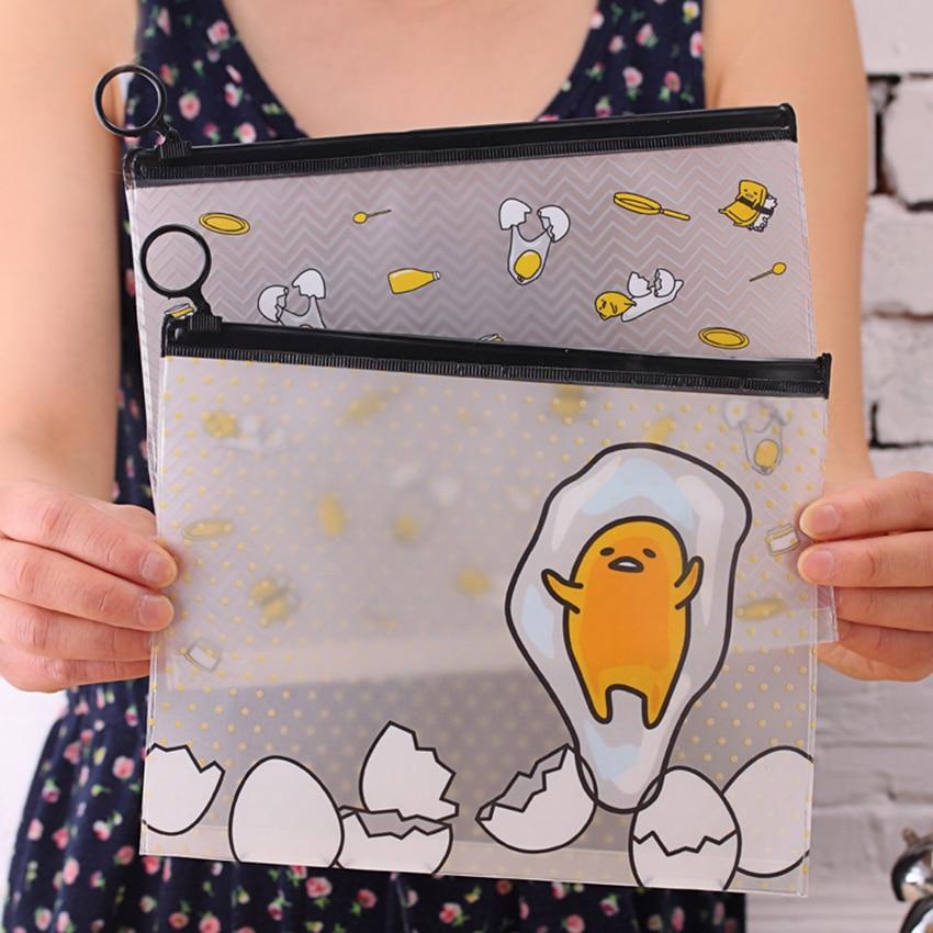 Transparent File Bag Zipper Document Storage Bag PVC Stationery Organizer Bag Cute File Folder Pen Pencil Bag Student Supplies
