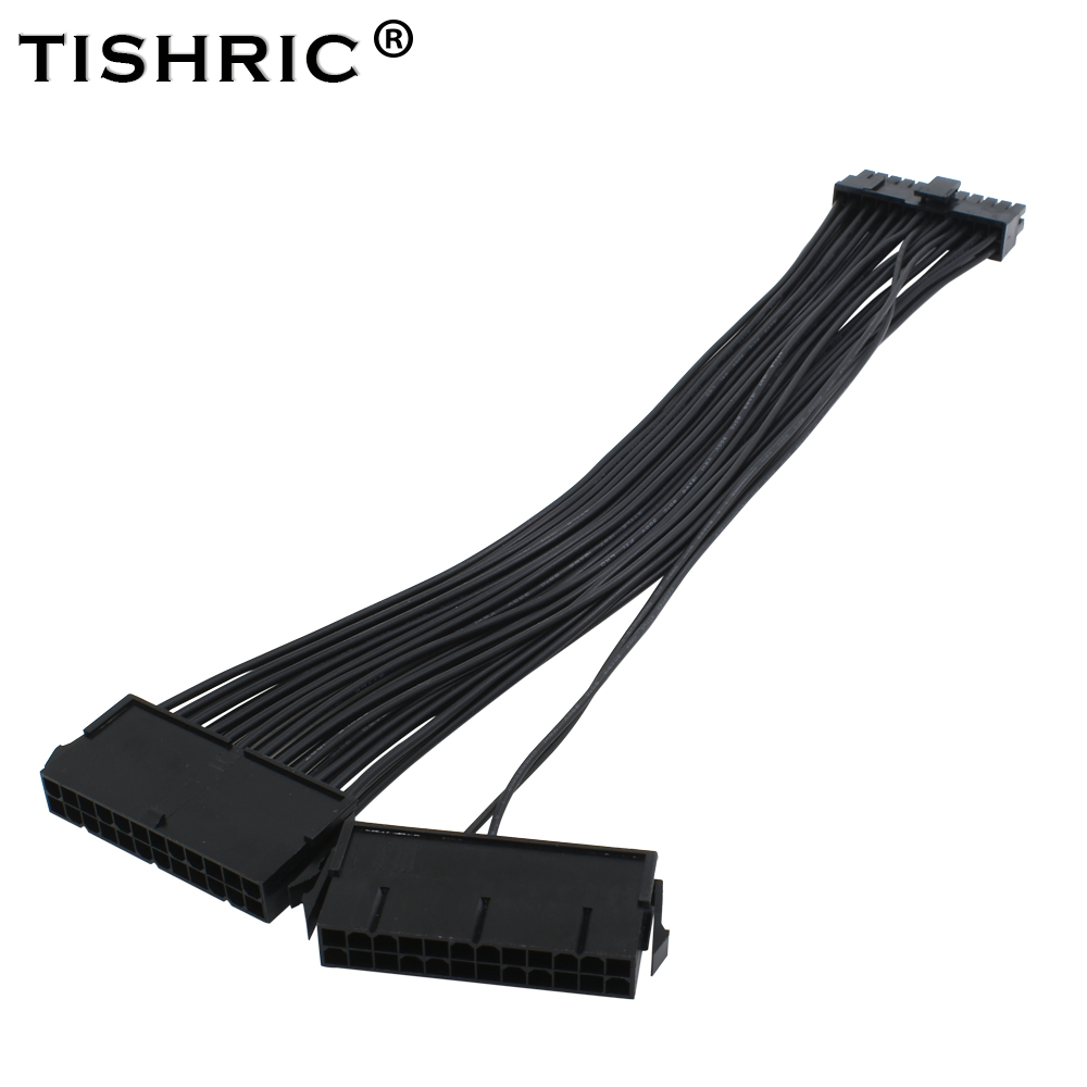 TISHRIC ATX 24Pin 2 Dual Molex PSU Power Supply Cord Motherboard Adapter Cable Starter Extender Synchronous atx 24pin to 18pin dual ide molex to 6pin converter adapter power cable cord for hp z600 workstation server 18awg