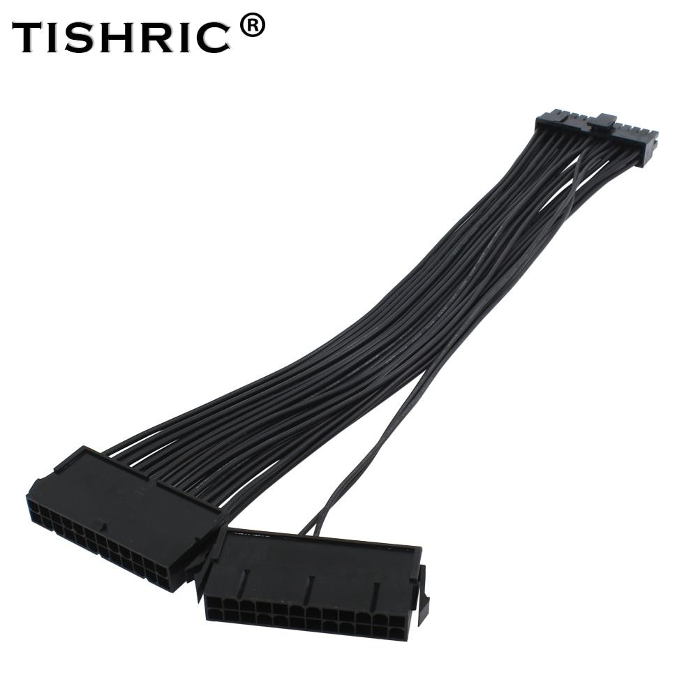 TISHRIC ATX 24Pin 2 Dual Molex PSU Power Supply Cord Motherboard Adapter Cable Starter Extender Synchronous синхронизатор запуска двух блоков питания 2 psu atx24pin molex oem