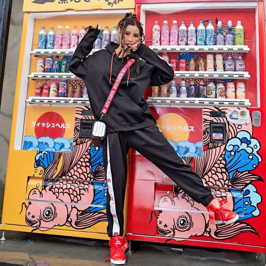 Tuta Per Le Donne Nero Grigio Con Cappuccio Autunno Inverno Casual Pullover Felpe Set Sportwear Set di due pezzi set Set Di Moda Femminile
