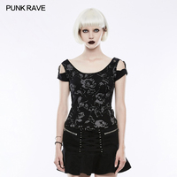 Punk Rave Summer Sexy Printing T shirt steam punk harajuku daft vestido christmas t shirt WT493