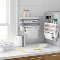 Refrigerator Cling Film Storage Rack Shelf Plastic Wrap Cutting Device Wall Hanging Paper Towel Holder Shelf Kitchen Organizer