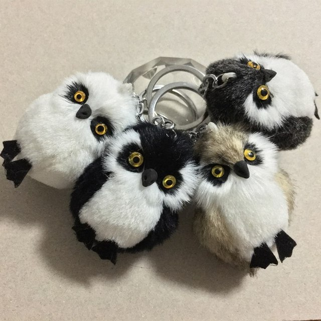 New Fashion Cute Owl Plush Toy Key Chain Ring Faux Rex Rabbit Fur Keychain Woman Bag Charms Man Car Keyring Wedding Party Gift 1
