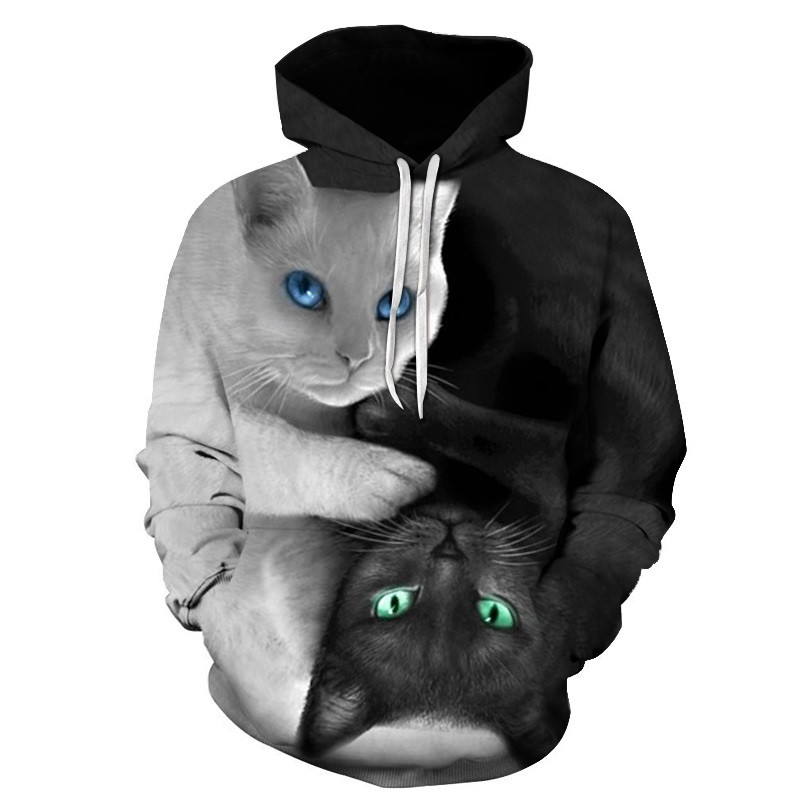 Black White Cat 3D Men's Women's Hoodie Sweatshirt