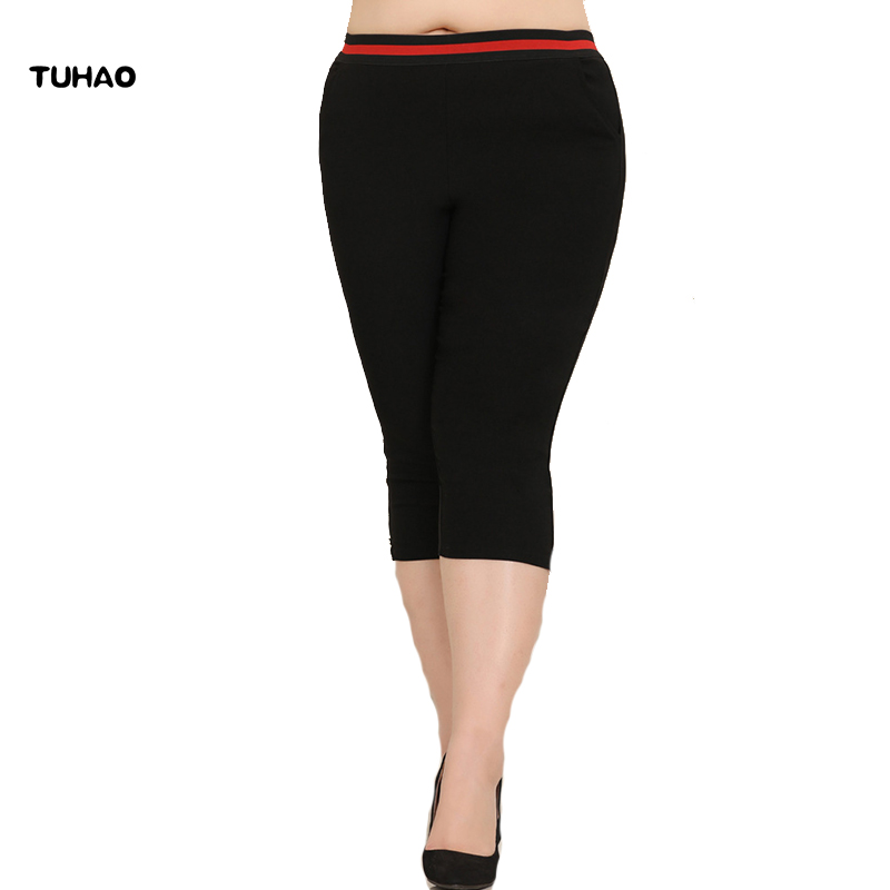 TUHAO Plus Size 10XL 8X 6XL trousers For Women Skinny Elastic Waist balck office Pants Panelled Paddy High Pencil Capris MS23