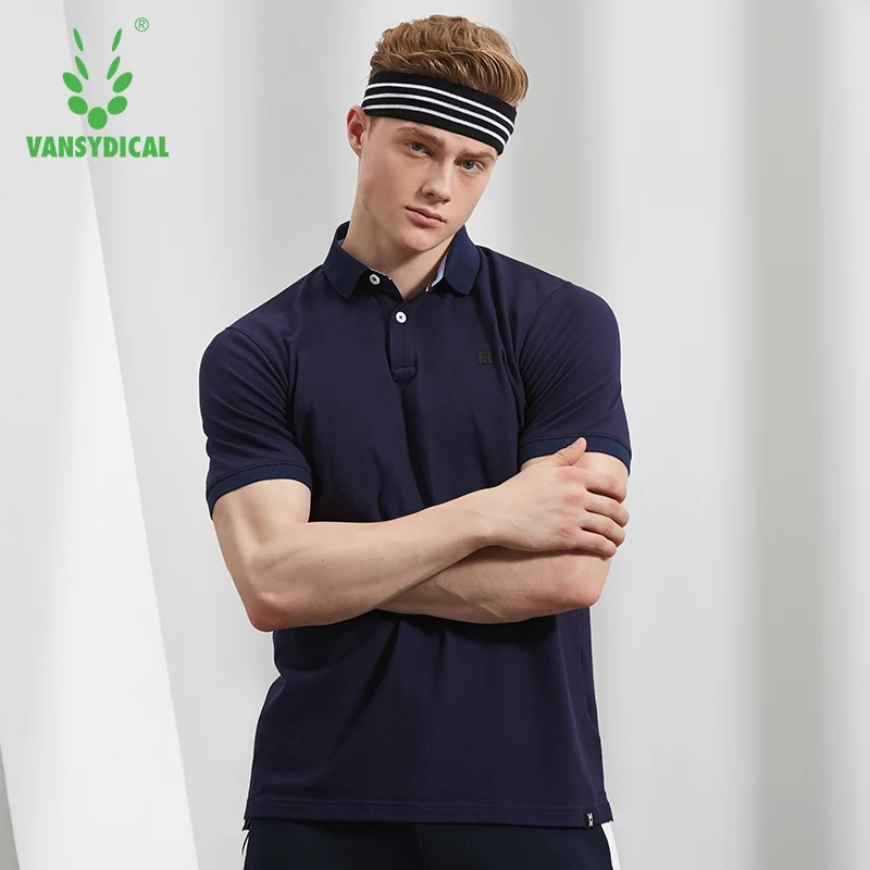 SPT Vansydical Summer Sports Polo Shirts Tops Mens Cotton Breathable Running T-Shirts Fitness Workout Short Sleeve Sportswear