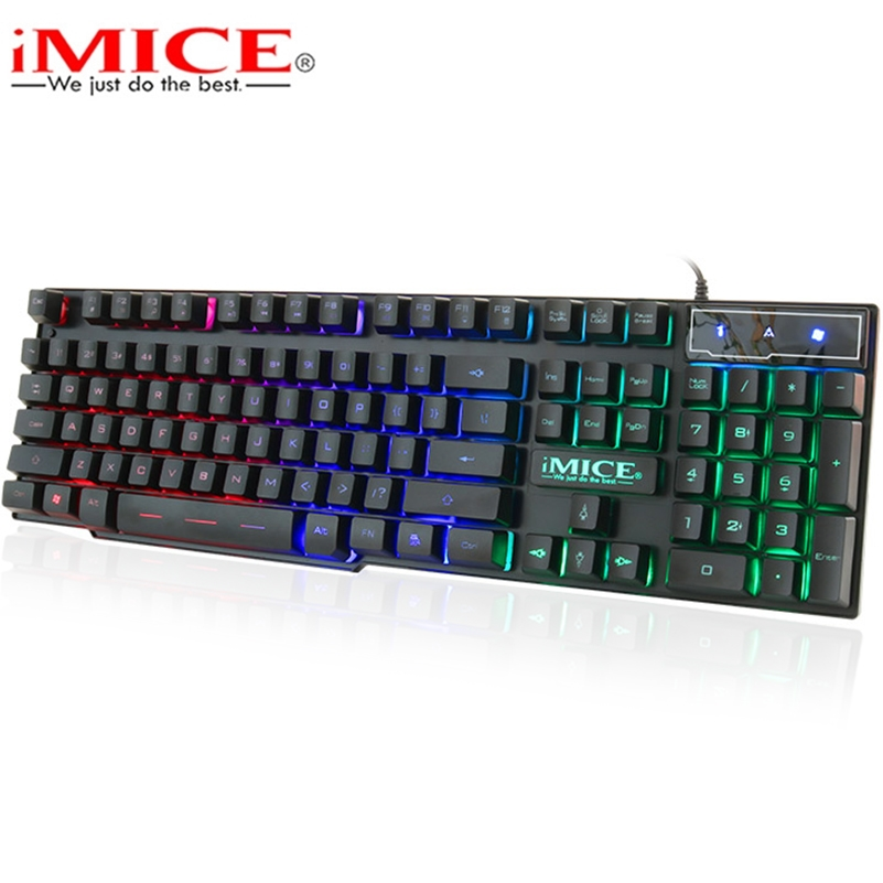 iMice Gaming Keyboard with Backlight Gamer Keyboard 104 Keys Mechanical Feel Game Backlit Keyboards with RU Sticker for Computer