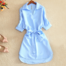 Summer Casual Dress Shirts Women 2019 Fashion Office Lady Solid Red Chiffon Dresses For Women Sashes Tunic Ladies Vestidos Femme