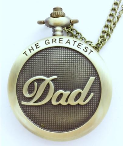 Relógio de Bolso com Colar Relógio de Presente do Dia dos Pais Antique Bronze Padrão Quartzo Dad