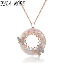 Fyla Mode Luxury Elegant Jewelry AAA Cubic Zircon Double Butterfly Pendant Banquet Necklaces For Women Party Accessories LYY003