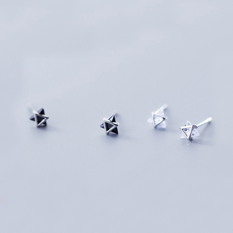 MloveAcc Drop Shipping 925 Sterling Silver Triangle Black/White CZ Crystal Stud Earrings for Women Silver Jewelry Gift