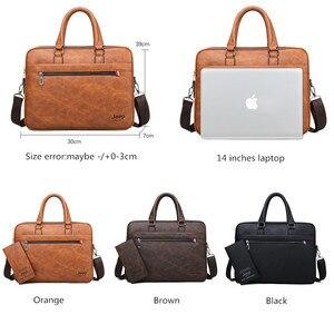 Image 2 - JEEP buuluo znane marki mężczyźni aktówka torba biuro biznes na ramię ze skóry Crossdody torba podróżna 14Laptop iPad A4 pliki torebki