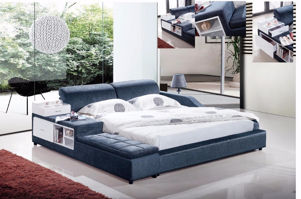 blue velvet modern fabric soft bed contemporary bedroom furniture made in China with ottoman брелок fallout 4 explosives skill