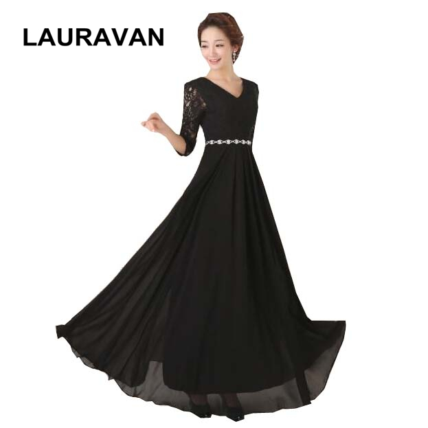 black floor length chiffon long black v neck pageant   bridesmaid     dress   gowns for special occasions bridal party   dresses   gown