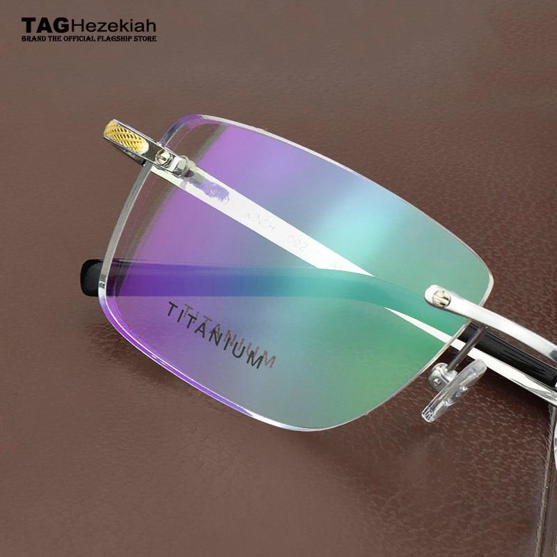 2019 fashion Brand High quality rimless glasses frame titanium eye glasses frames for men Square Business eyeglasses frames men