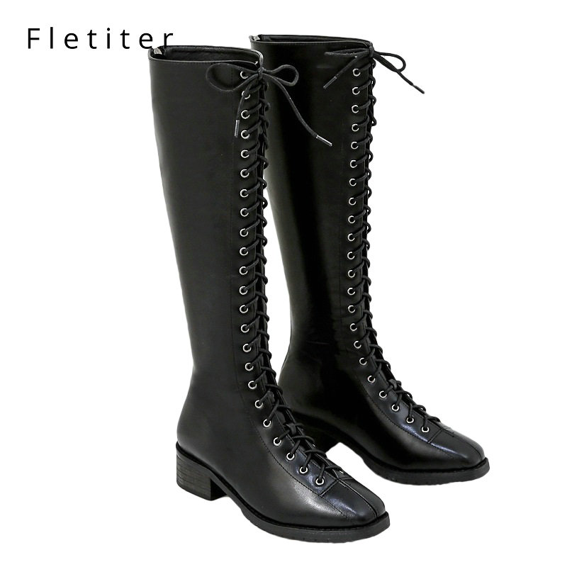 Fletiter Winter shoes Autumn Lacing Knee High Boots Women Fashion Black Square Heel Woman Leather Shoes