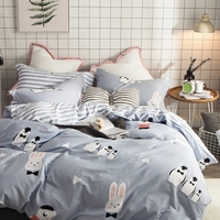 Queen Size 100% Cotton Grey Rabbit and Penguin Duvet Cover Set Stripes Bed Sheet/Bedspread Pillowcase Cartoon Bedding Sets