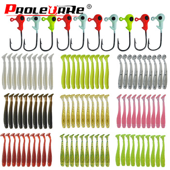 20pcs Jig Soft Bait Silicone Lure Worm Fishing Lures Wobbler 45mm 0.7g Attractive Artificial rubber Swivel Bass Fishing Tackle 1