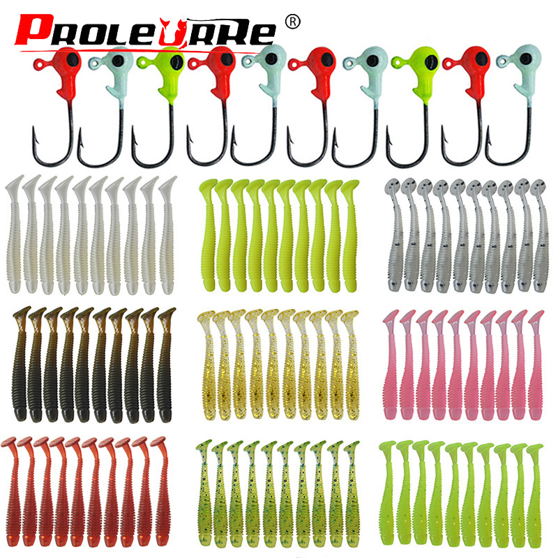 20pcs Jig Soft Bait Silicone Lure Worm Fishing Lures Wobbler 45mm 0.7g Attractive Artificial Rubber Swivel Bass Fishing Tackle