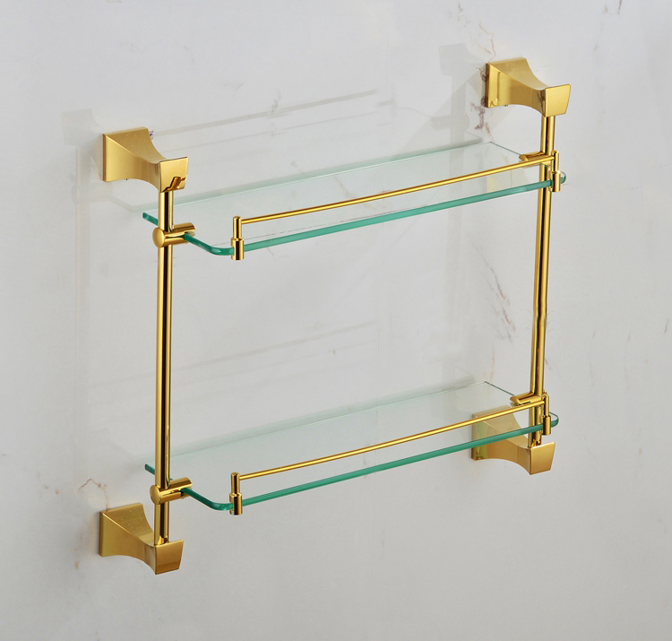 Free shiping bathroom glass she double shelf Pure copper&glass,bathroom hardware  GB012a-1 what she left