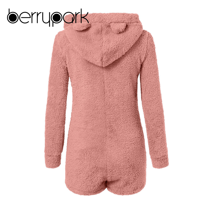 Warm Coral Fleece bear Hooded Jumpsuit 5