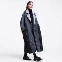 IRINAY006 2018 Original Design unique loose x long white duck down patchwork handmade double faced wool coat women winter