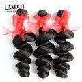 Brazilian Loose Wave Virgin Hair 100% Human Hair Weave 3 Bundles Lot Natural Black Brazilian Loose Curly Remy Hair Extensions