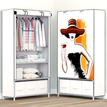 3D printing Dormitory single wardrobe with 3 drawer Non woven Steel frame Storage Organizer Detachable Clothing