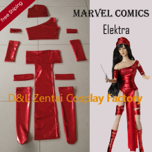 Free Shipping DHL Girl Marvel Comics Elektra Costume Red Shiny Metallic Carnival Suit Superhero Cosplay Costume MCE105
