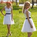 Simple Elgant White Homecoming Dresses Short V-neck Sleeveless Chiffon Pleat Bandage Dresses Girl's Formal Party Dresses LM053
