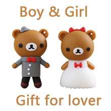 2 0 64GB 16GB 32GB Creativo Wedding Dress Bear Pen Driver Cartoon Usb Flash Drive 512GB