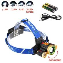 CASTNOO T6 3X светодиодный 10000 лм 4 Режимы налобного фонаря света зум Рыбалка свет+ 2x18650 батарея+ USB кабель A391