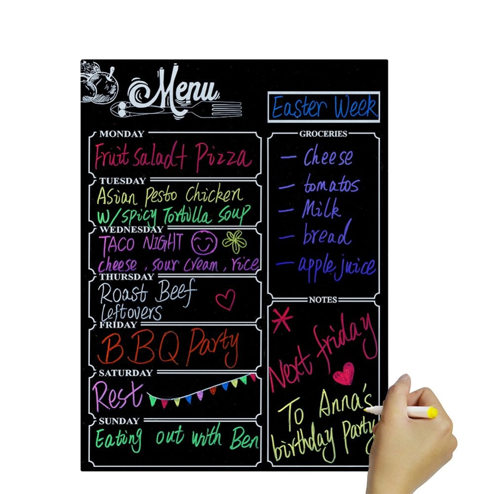 Menu Meal Planner Dry Erase Magnetic For Refrigerator, Weekly Meal Planner Refrigerator Board For Kitchen Fridge With 8 Color Ma