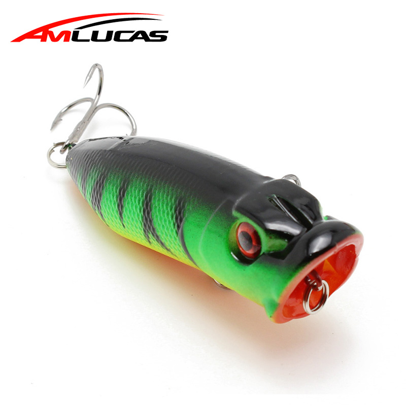 Amlucas 70mm 10g Popper Fishing Lure 3D Eyes Topwater Bait Crankbait Wobblers  isca artificial with 6# hooks Tackle WE310