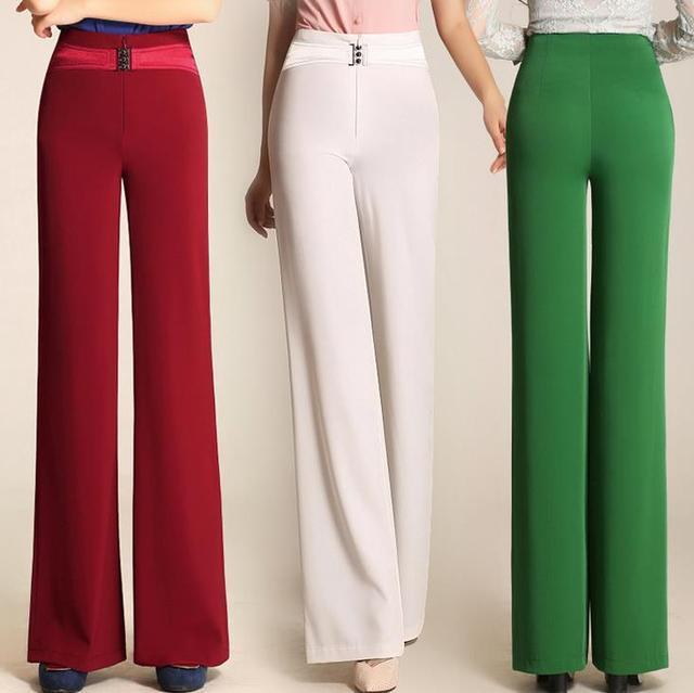 Nuevos pantalones de pierna ancha de cintura alta pantalones femeninos de moda recta pantalones casuales ol de las mujeres más el tamaño 5xl