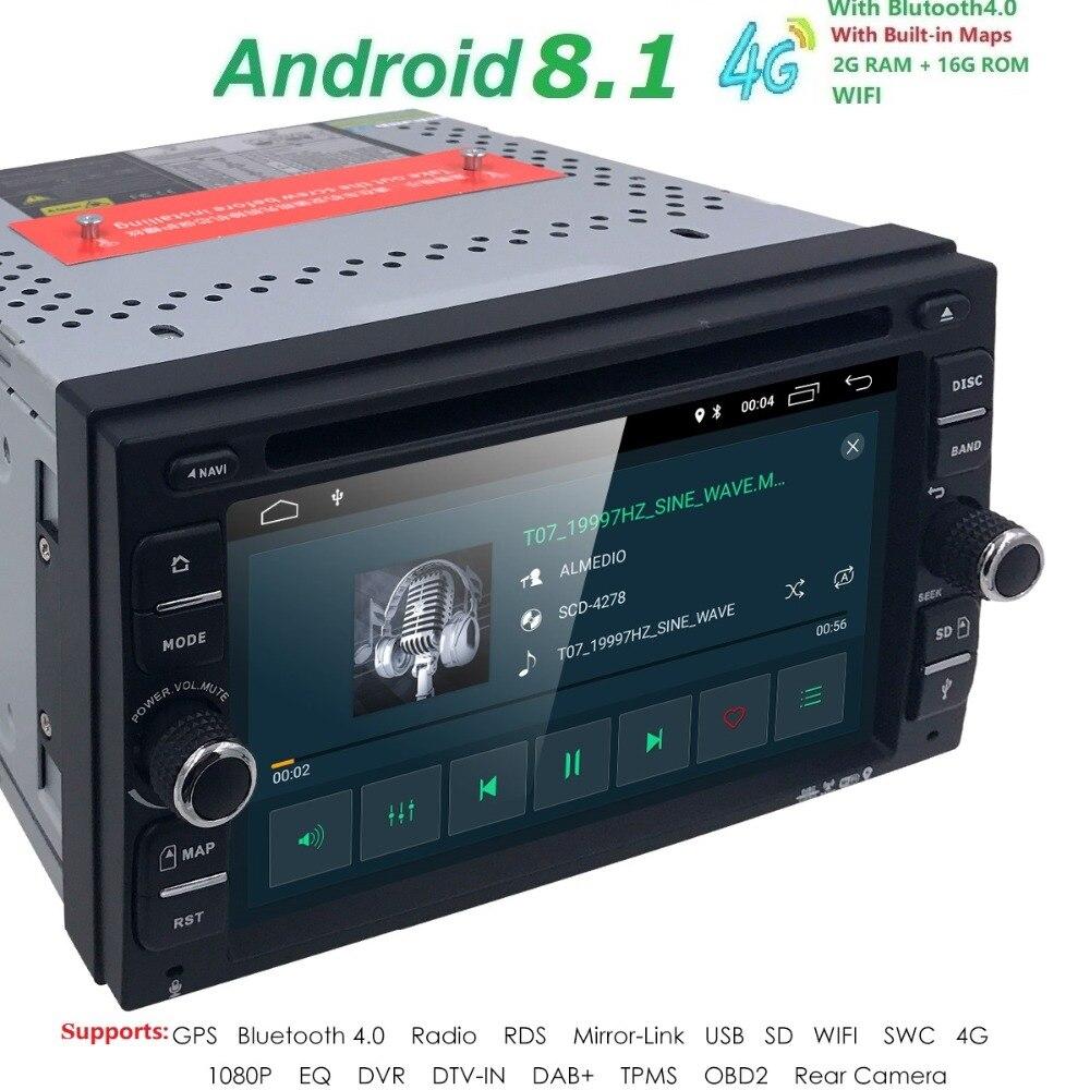 Quad Core Android 8.1 4G WIFI Double DIN écran Tactile Voiture Lecteur DVD Radio Stéréo GPS Navi DVR DAB CFC BT CARTE Miroir-lien RDS
