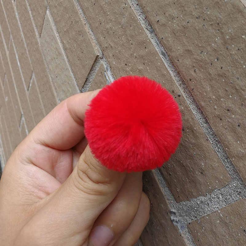3CM ~ 4CM 1PC mullido lindo Mini pompón de piel de conejo de imitación llavero de bola accesorios de mujer llave Artificial accesorios para pendientes de anillo DIY