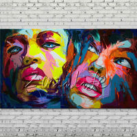 Palette knife portrait Face Oil painting Character figure canva Hand painted Francoise Nielly Art picture room 14 (3)