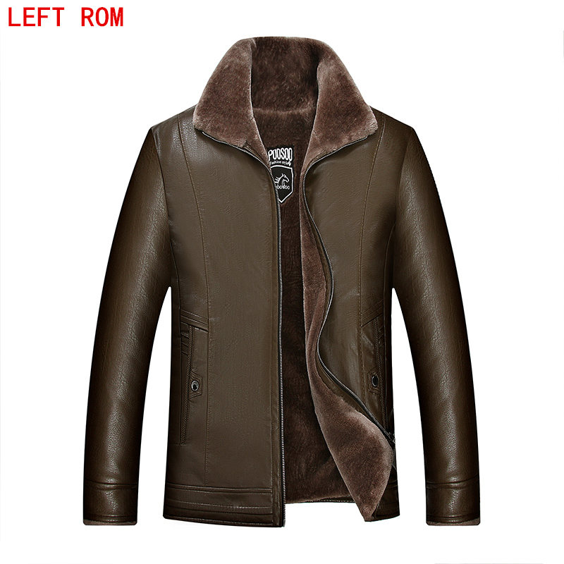 hot brand leather mens leather fur winter fur one integrated velvet thicker leather jacket mens jackets luxury leather goods